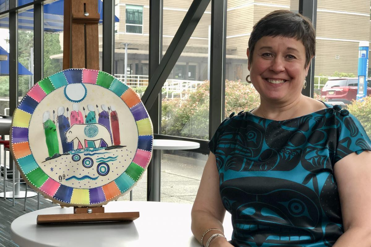 Deb Saucier receiving the Indigenous Women in Leadership Award