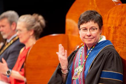 Dr. Deb Saucier, VIU President and Vice-Chancellor, at Convocation