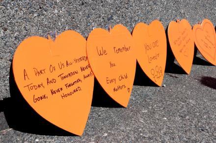 Row of orange hearts